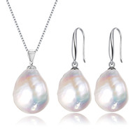 SNH 11 12mm AA+ Baroque Wedding freshwater pearl jewelry sets silver women,White natural pearl sets pendant earring