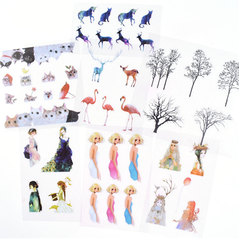 5 Sheets Cut Cats Scrapbooking Sticker Phone Case DIY Resin Cut Mold Birds Elk Tree Micro Stickers Jewelry Filling Tools