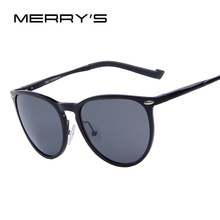 MERRY'S Brand Luxury Men Aluminum Polarized Sunglasses Italian Design Fashion Sunglasses Cat Eye Frame Exquisite Packaging