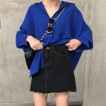 Women Solid Batwing Sleeve Shirts Female Autumn Long Sleeve Turn-down Collar Blouses Women Korean Casual Elegant Loose Blouse girls plaid blouse 2019 spring autumn turn down collar teenager shirts cotton shirts casual clothes child kids long sleeve 4 13t
