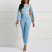 4c596327d5 Women Sky Blue Spring Summer Cape Sleeve Romper Floral See Through Lace  Patchwork Backless Office Lady