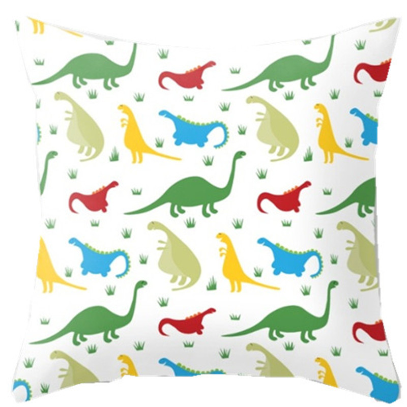 Colorful Dinosaurs Decorative Pillow Cover