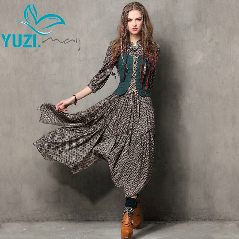 Summer Women Dress 2018 Yuzi may Vintage Tunic Cotton Combo Dresses Mandarin Collar Three Quarter Sleeve
