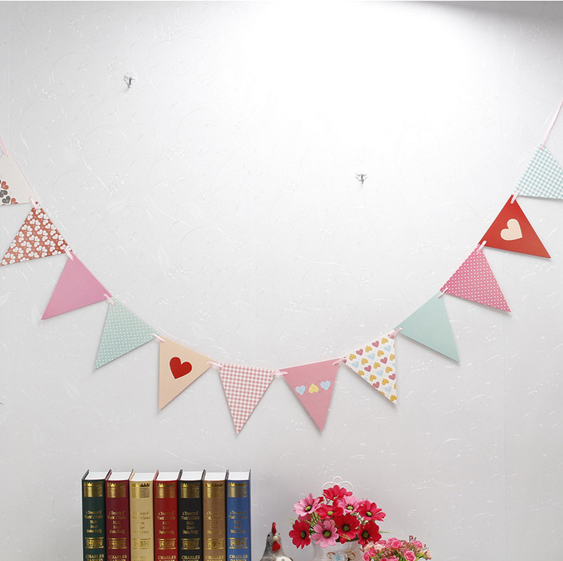 Girls Party Bunting 1 Banner Flags Per Bunting Length 2.5m Party Favors kids boy Mickey Happy Birthday Decoration party supplies