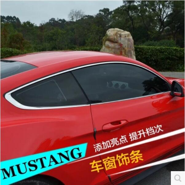 6Pcs Door Full Window Frame Sill Molding Trim Cover For Ford Mustang 2015 2016 2017 2018 BY EMS