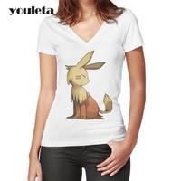 Eevee 2018 Sommer Lustige Baumwolle Frauen T-shirt Digitalen baby Printing Short T-shirt Frauen V-ausschnitt T-shirt