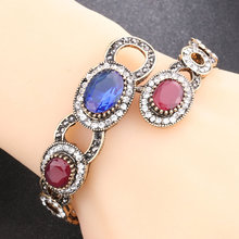 Women Lady Bangles Vintage Ethnic Style Hollow Alloy Chain Crystal Luxury Bangles Jewelry Gift CX17