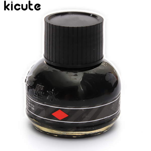 Kicute New 56ML Carbon Black Bright Color Fountain Pen Ink Fluent in Writing Ink for Fountain Pen Office School Studying Supply