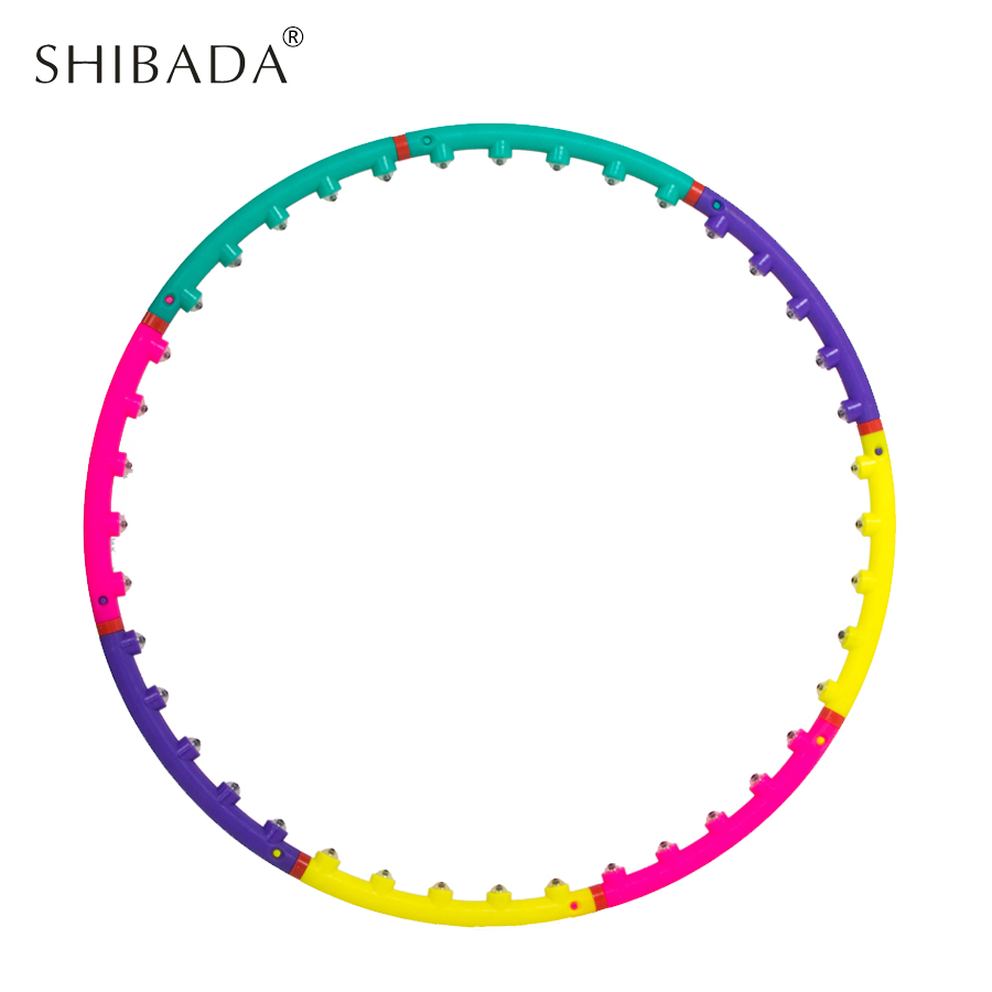 SHIBADA Magnet Fitness Colorful Hula Hoop Sport Massage Hoops Bodybuilding for Women Removable Gymnastics Ring 7 Section 88cm