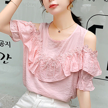 Summer Lace Women Tops 2019 New Chiffon Shirt Female O-Collar Blouse Ruffles Flower Blusa 17H7
