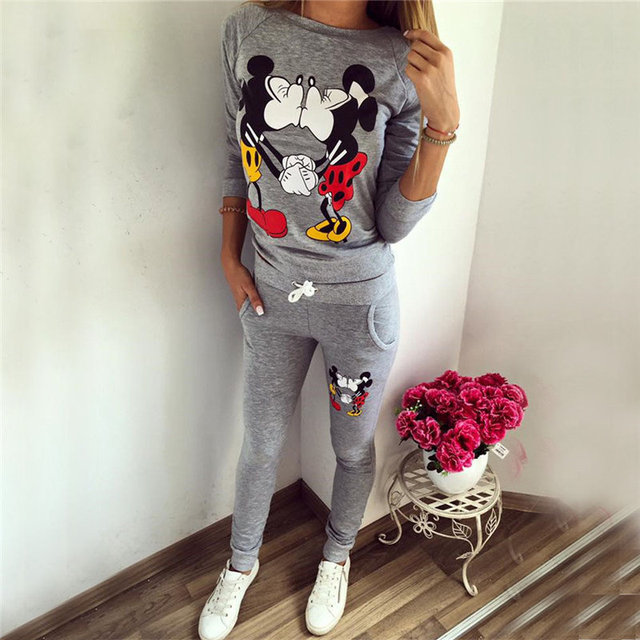 2016 Autumn Winter Women Cotton Tracksuit 2 Piece Set Clothing mouse kiss Printed Sportwear Suit Woman  Hoodies Set Costumes