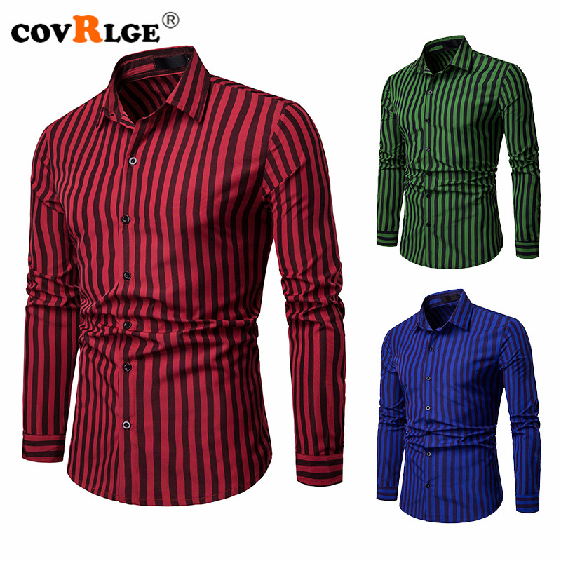 Covrlge Mens Contrast Vertical Striped Dress Shirts High-quality Comfortable Long Sleeve Slim Casual Button-down Shirt MCL209