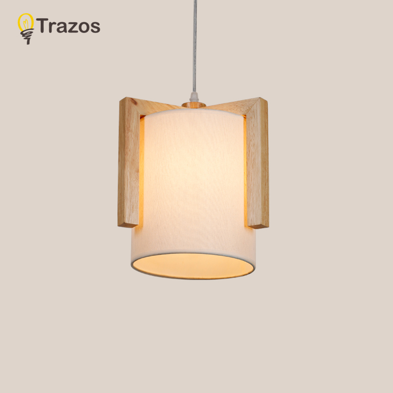 TRAZOS Japan Style Pendant Lights With Fabric Lampshade LED Lampadari Tangular Hanging Light For Dining Cloth Kitchen Lighting