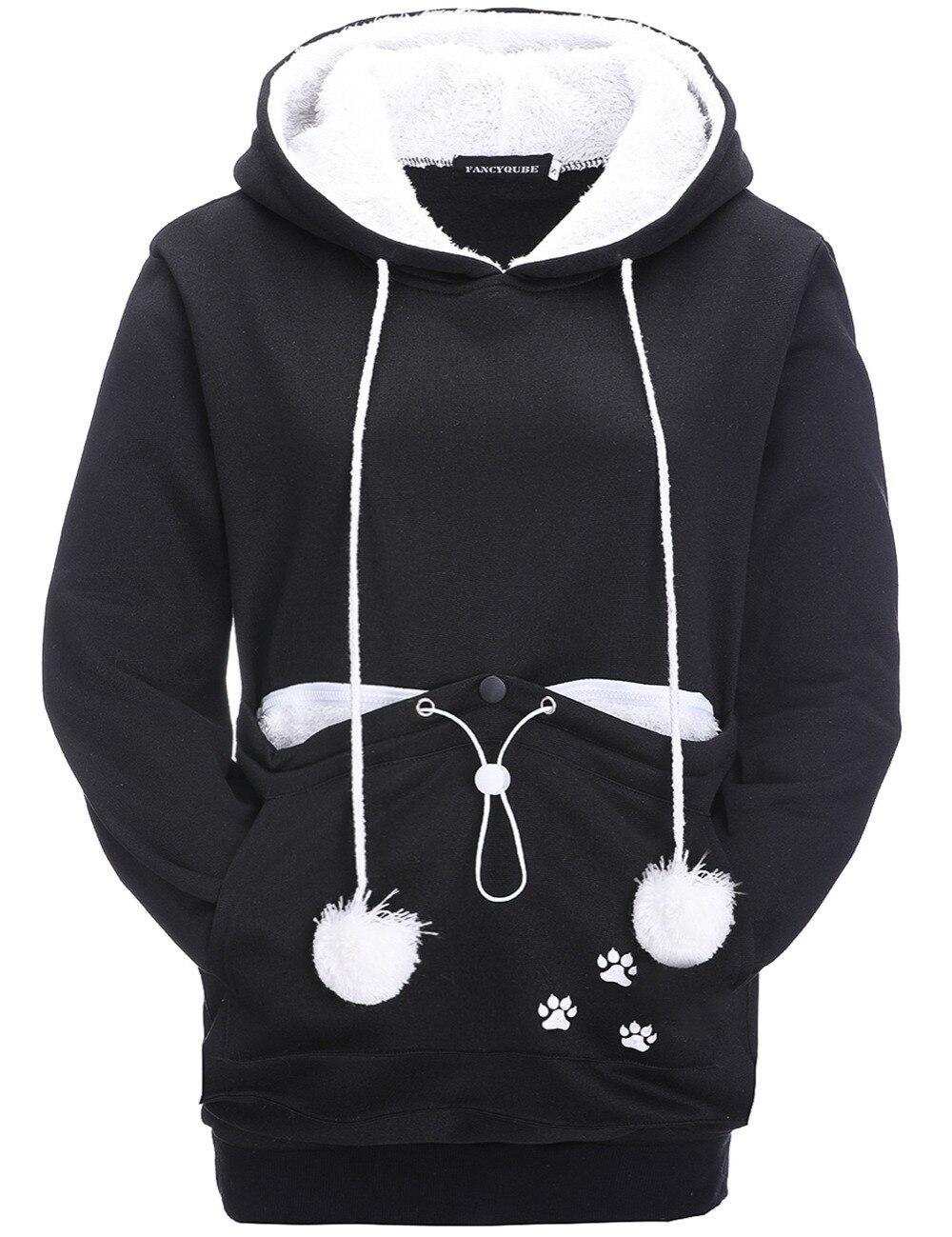 17 New Cartoon Hooded Hoodies Lover Cats Kangaroo Dog Hoodie Long Sleeve Sweatshirt Front Pocket Casual Animal Ear Hoodie 25