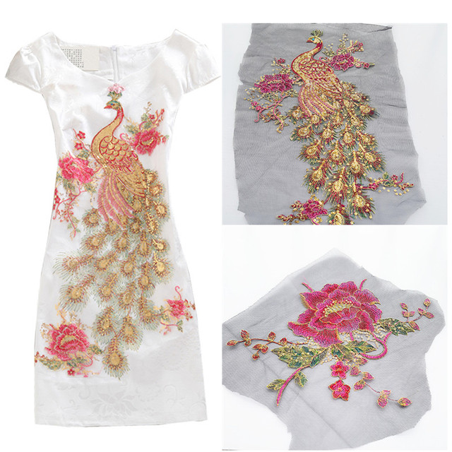 9ce22cda9797b US $1.5 |DIY Peacock Flower Sequins Embroidered Patches For Clothes  Applique Embroidery Flower Wedding Dress Sewing Trim Garment Decor-in  Patches from ...