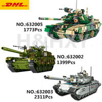 DHL Panlos 632002 1399Pcs 632003 632005 Military Tank The Type 99 Main Battle Tank Building Blocks Bricks Tanks Model