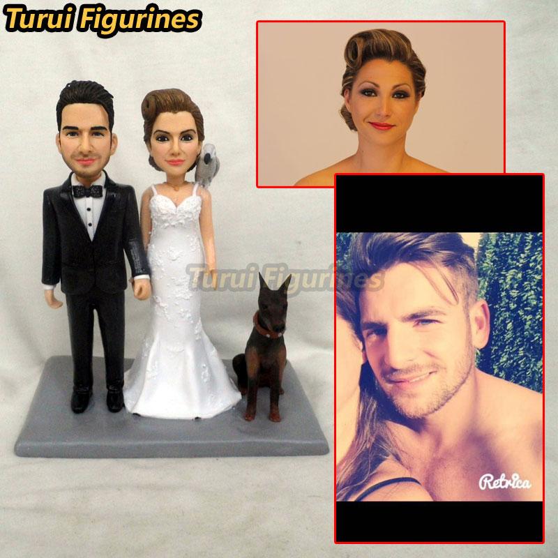 Turui Figurines personnalisé invitation de mariage gâteau topper robe costumes anneau personnalisé avec nom et date de mariage autocollant cadeau