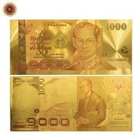 WR Birthday Souvenirs Bhumibol Adulyadej Memory Gold Banknote Thailand 1000 Baht Quality Currency Bill Note Original Size
