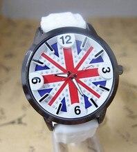 High Quality UK Flag Silicone Watch Women Ladies Dress Quartz Wrist Watch Female Clock cg-1