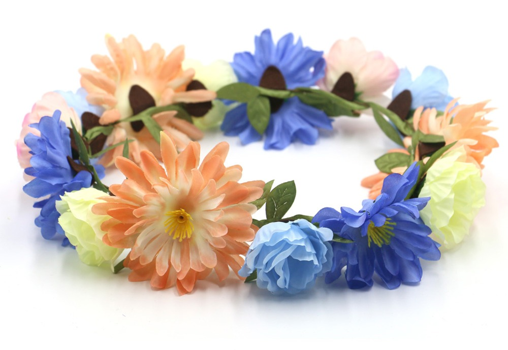 Handmade bride floral flower crown rose headband hair garland festival wedding hair accessories hairbands