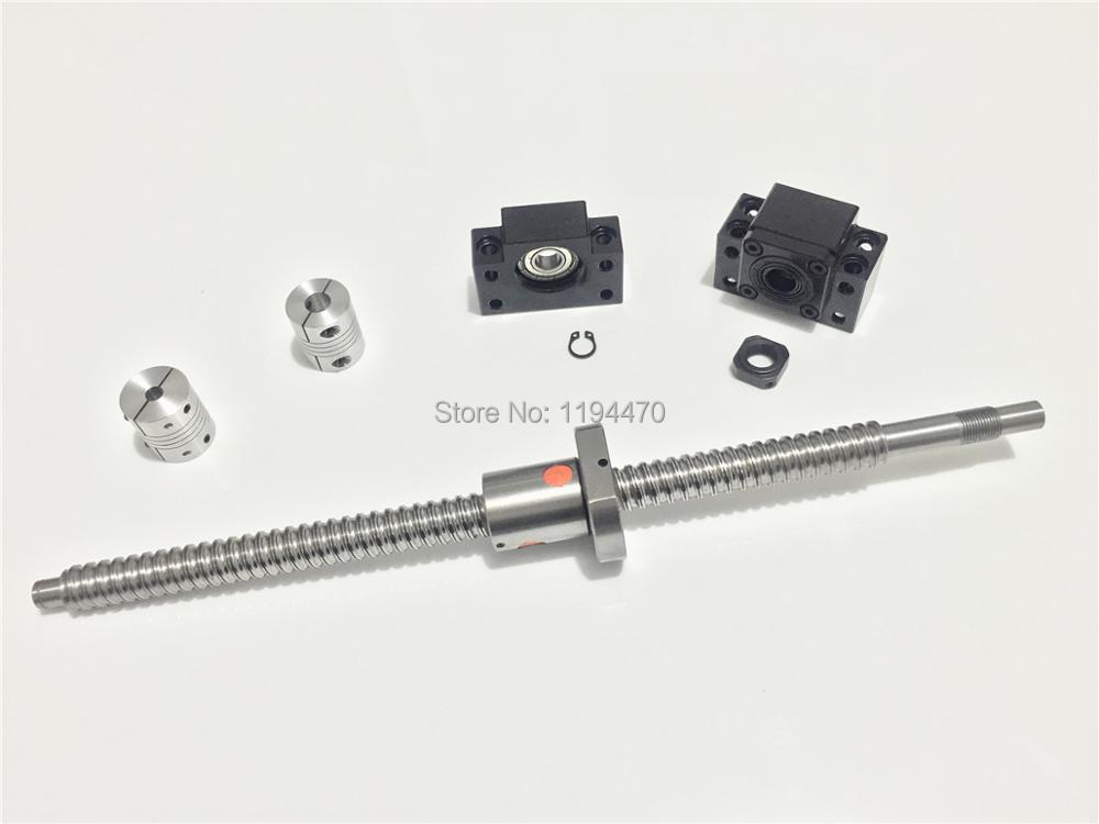 Ball Screw SFU1605 RM1605 L500mm Ballscrew End Machined with Ballnut + BK12 BF12 End Support + 2pcs 6.35x10mm Coupler sfu rm 1605 ball screw l450mm bk bf12