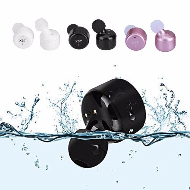 1 Pair TWS X3T Waterproof Mini HiFi Wireless Bluetooth Earphone Wireless Headset Earbuds with Mic for Honor 10 Xiaomi iPhone X