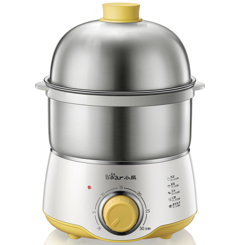 220V Double Electric Multi Egg Boiler Steamed Custards Cooker Machine Stainless Steel With 30 Minutes Timer Auto-off Function