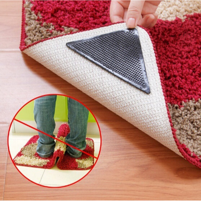 Home Decoration Carpet 4pcs Silicone Rug Grippers Sticky Pads Non Slip Grip Corners Pad Reusable Washable