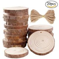 20pcs Lot Wood Log Slices Discs DIY Wood Crafts Log Sheet Crafts Paint Decor For Wedding