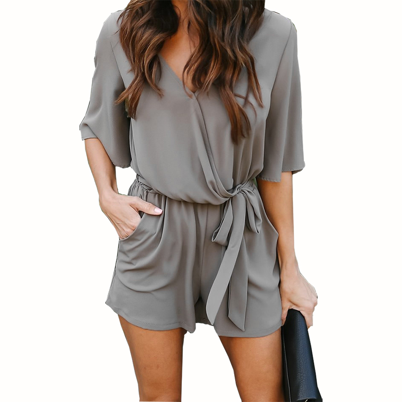Playsuit Summer Casual Jumpsuit Solid Romper Chiffon Shorts V-neck Sleeveless
