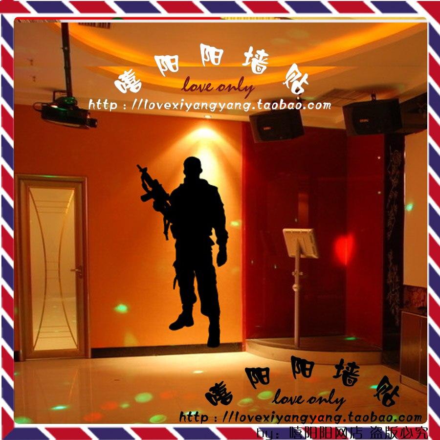 Customize Seal Solr Gun Gl Pattern Decals Sticker Wall Decor For Pub Bar Billiards Ktv 22