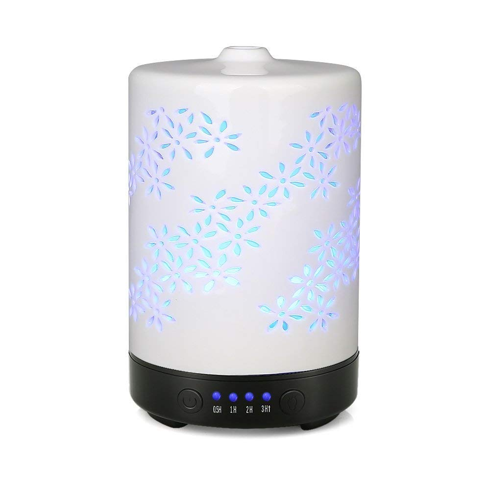 100ML Plum Blossom Carved Pattern Air Humidifier Electric Aroma Essential Oil Diffuser With Colorful Night Backlight