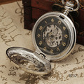WINNER Delicate Classic Retro Mechanical Pocket Watch Big Numbles Hot-Sale Skeleton Black Face #1 Gift W/ Box
