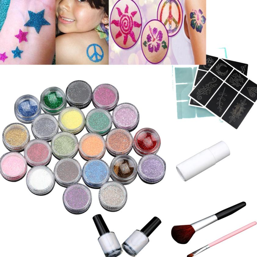 24 Colors Shimmer Powder Temporary Glitter Tattoo Set for Body Art Paint with Body Glue Stencil Brushes#121 ophir 12 colors powder temporary shimmer glitter tattoo kit for body art design paint with stencil glue