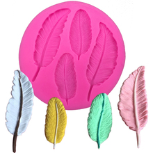 Four leaf feather Shaped DIY fondant cake silicone moulds chocolate accessories for cupcake decoration kitchen Baking tool F0057(China)
