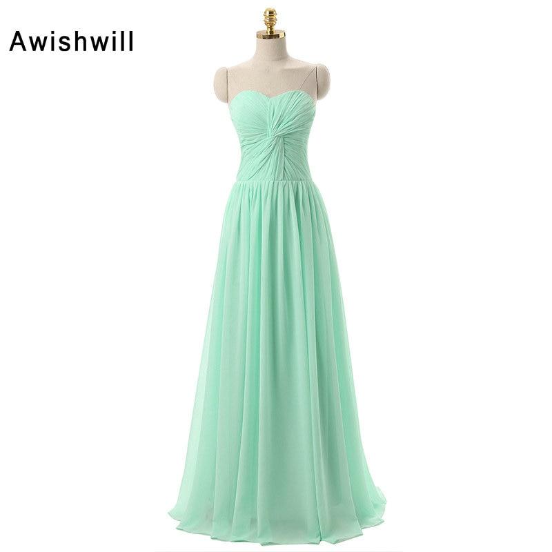 Дешевые шифон Подружкам невесты длинные 2018 Новое поступление Свадебные Вечеринку Vestido madrinha зеленый цвет невесты платье горничной