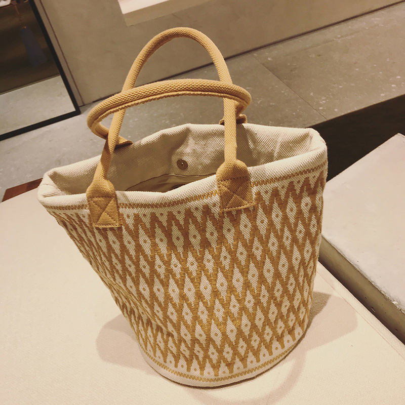 Women tote bag Embroidered canvas shopping bag Large reusable grocery women tote bag Plaid Canvas Tote for Women Female квадрокоптер shantou daxiang b1455575