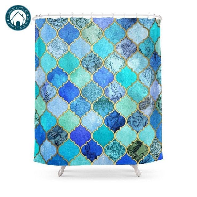 Cobalt Blue Aqua Gold Decorative Moroccan Tile Pattern Shower Curtain Waterproof Bathroom Curtains