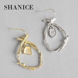 Шанис 925 пробы серебро уникальные, золотистого цвета листьев серьги-ветки для Для женщин Длинные Висячие серьги для девочек ушные