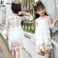 Free Shipping 2017 New Summer Fresh Lace Girl Dress Sweet Can Princess Dress Purple Pink White