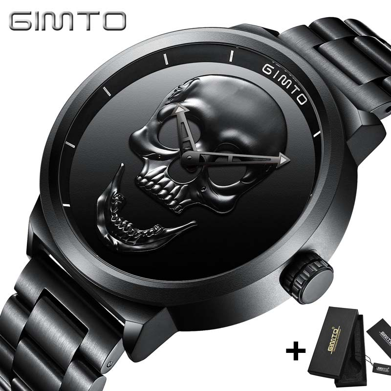 3D Skull Personality Retro Fashion Men's Watch GIMTO Cool Skull Men Watch Luxury Brand Quartz Creative Clock Relogio Masculino