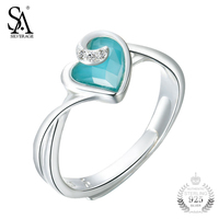 SA SILVERAGE Fashion Turquoise Love Heart Rings For Women 100 925 Sterling Silver Jewelry Ring Wedding