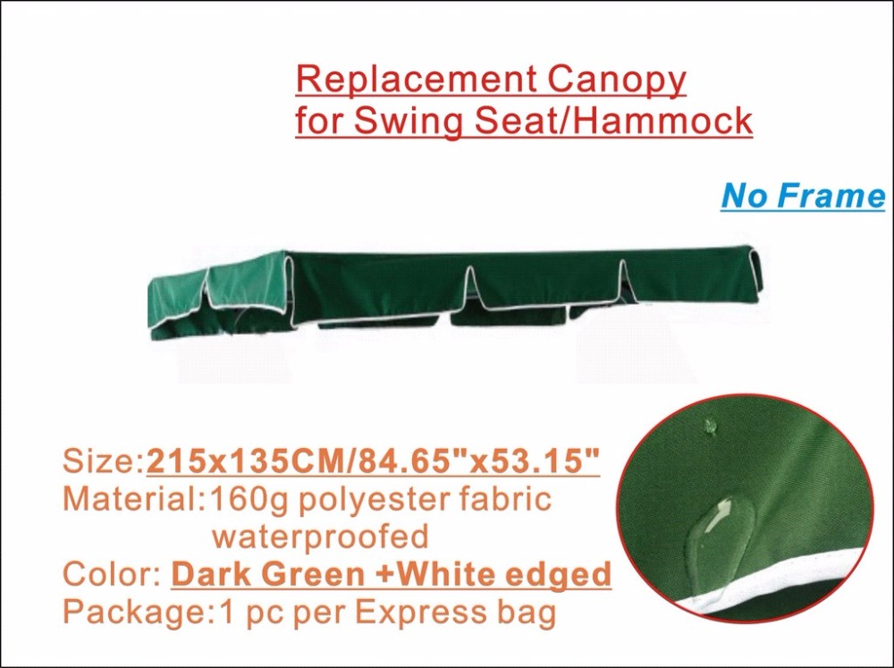 Replacement Canopy for 3 seats Swing Chair, Water proofed replacement canopy 215x135cm,Dark green color