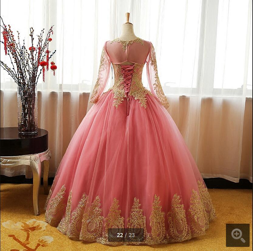 Vestidos De Novia ball gown pink gold lace appliques prom dress long ...