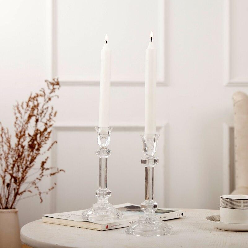 Élégantes faveurs de mariage Accents de cristal bâton de verre bougeoir maison décoration de table bougeoirs paire