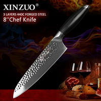 XINZUO 8 inch Chef Knife High Quality 3 Layer 440C Core Clad Steel New Arrival Stainless Steel Kitchen Cook Knives G10 Handle