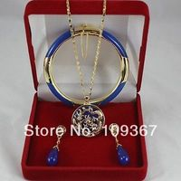 free shipping Nobility blue gem Circle Dragon Pendant Necklace Earring Bracelet Set Bridal Jewellery lady's Sets no box