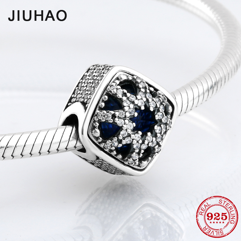 New 925 Sterling Silver square shape sparkling blue CZ beads Fit Original Pandora Charm Bracelet Jewelry making