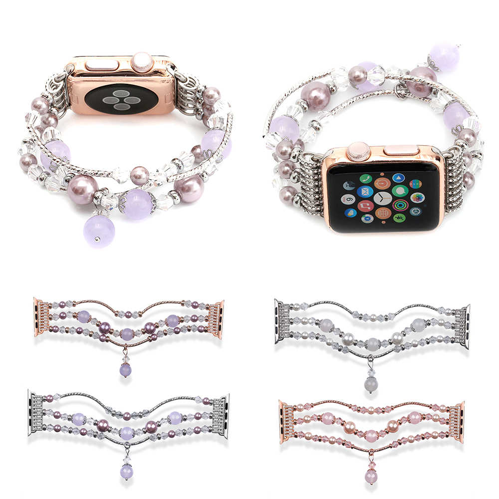 Women Handmade Jewelry Bracelet Belt For Apple Watch 38mm 40mm 42mm 44mm Natural Agate Strap For Apple iWatch Band Series 2 3 4