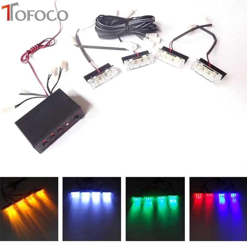 TOFOCO Car Strobe Flash Warning Police Truck Light DC 12V 4x3 led LED Car motorcycle Strobe flash light Flashing Firemen Lights цена и фото